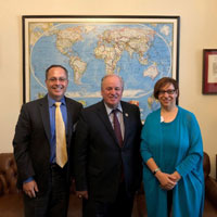 Pictured here are, from left to right: Todd Osman, Pennsylvania Congressman Mike Doyle, and Judy Meiksin